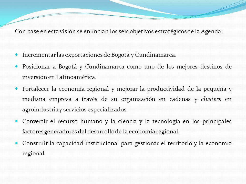 Con base en esta visión se enuncian los seis objetivos estratégicos de la Agenda: Incrementar las exportaciones de Bogotá y Cundinamarca. Posicionar a