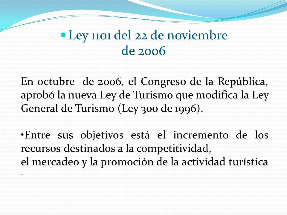 Ley 1101 del 22 de noviembre de 2006 En octubre de 2006, el Congreso de la República, aprobó la nueva Ley de Turismo que modifica la Ley General de Tu