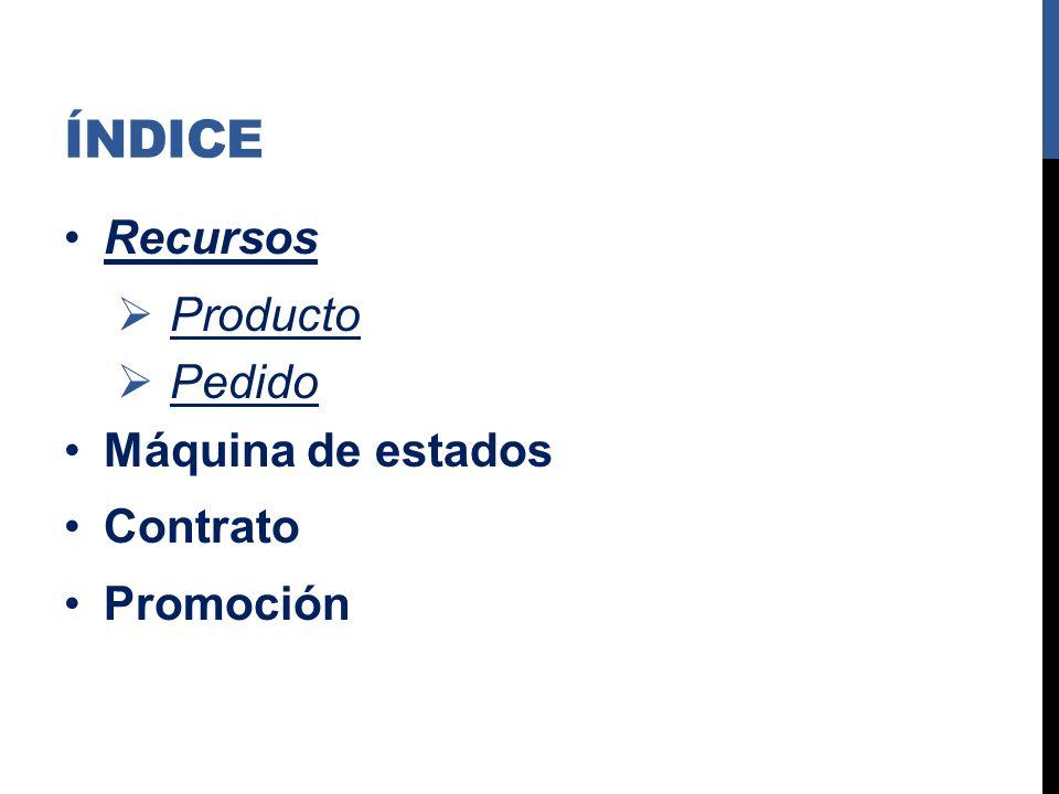 ÍNDICE Recursos Producto Pedido Máquina de estados Contrato Promoción