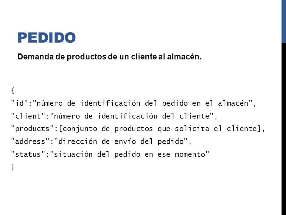 PEDIDO { id :0, client :1003, products :[0:500,1:300 ], address : Ronda Tamarguillo, s/n C.C.