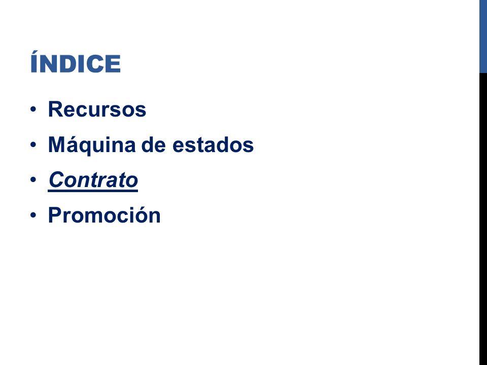ÍNDICE Recursos Máquina de estados Contrato Promoción