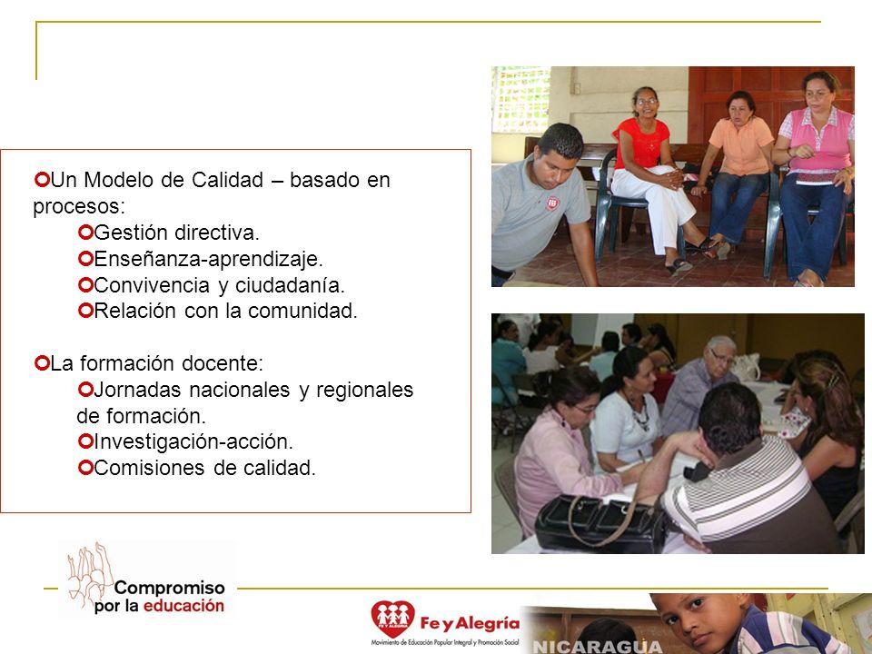 Un Modelo de Calidad – basado en procesos: Gestión directiva. Enseñanza-aprendizaje. Convivencia y ciudadanía. Relación con la comunidad. La formación