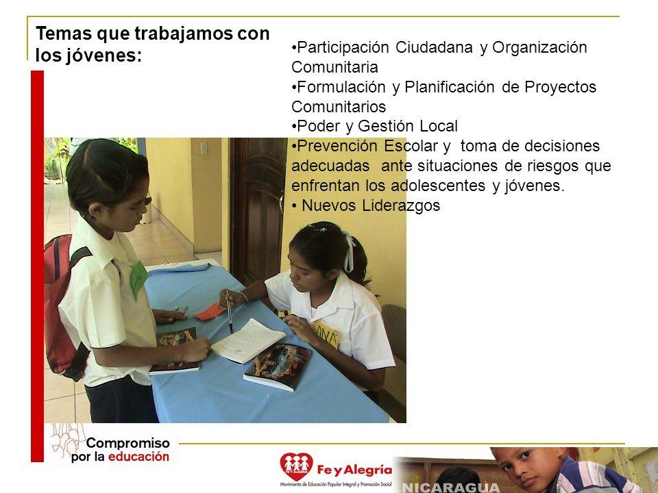 Participación Ciudadana y Organización Comunitaria Formulación y Planificación de Proyectos Comunitarios Poder y Gestión Local Prevención Escolar y to
