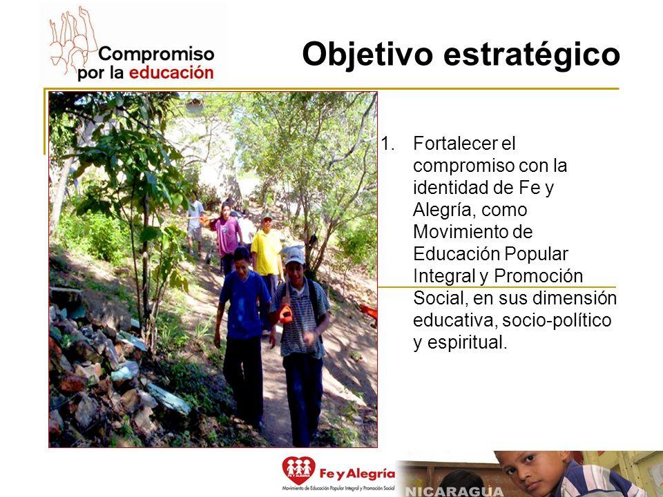 Objetivo estratégico 1.Fortalecer el compromiso con la identidad de Fe y Alegría, como Movimiento de Educación Popular Integral y Promoción Social, en