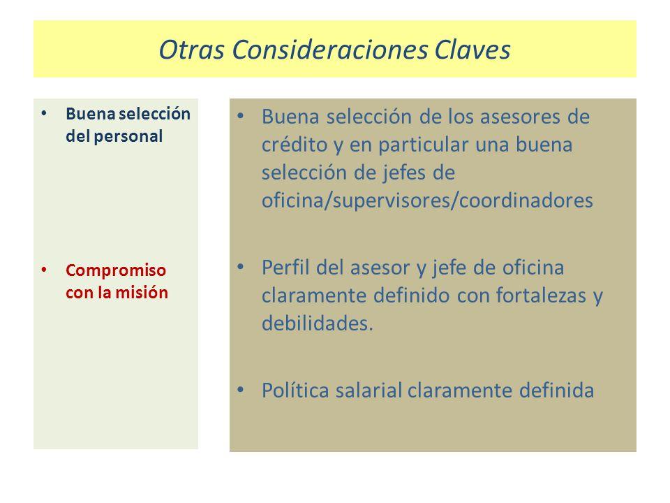 Otras Consideraciones Claves Buena selección del personal Compromiso con la misión Buena selección de los asesores de crédito y en particular una buen