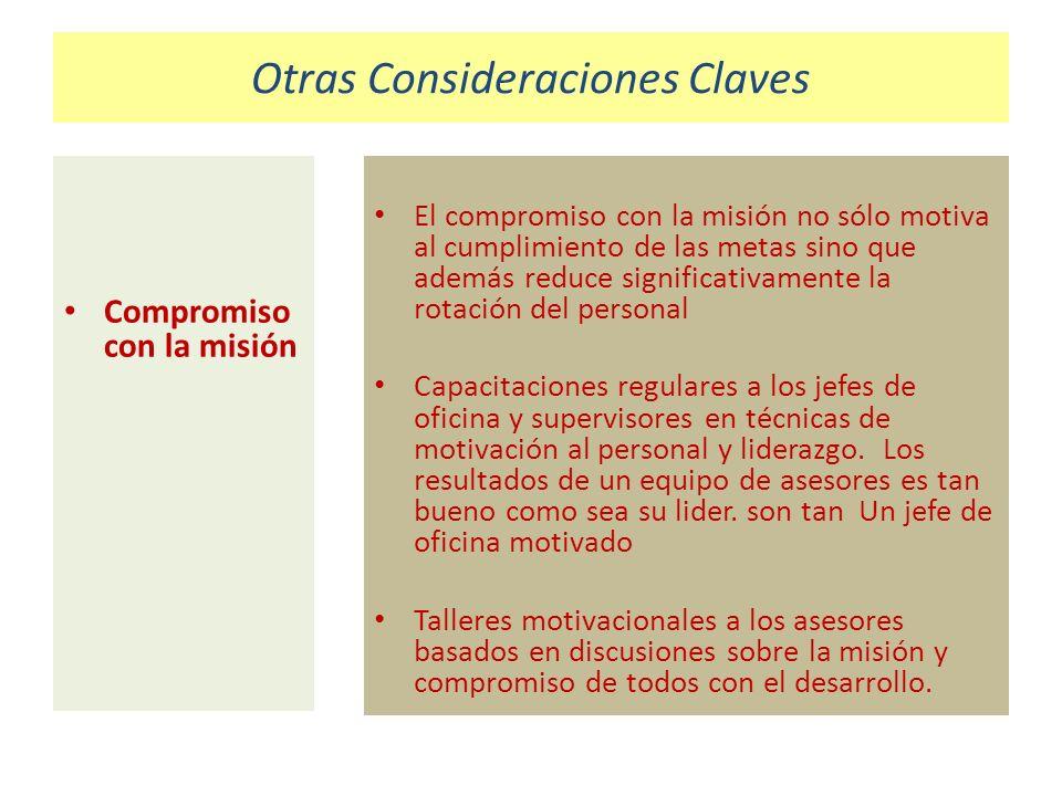 Otras Consideraciones Claves Compromiso con la misión El compromiso con la misión no sólo motiva al cumplimiento de las metas sino que además reduce s