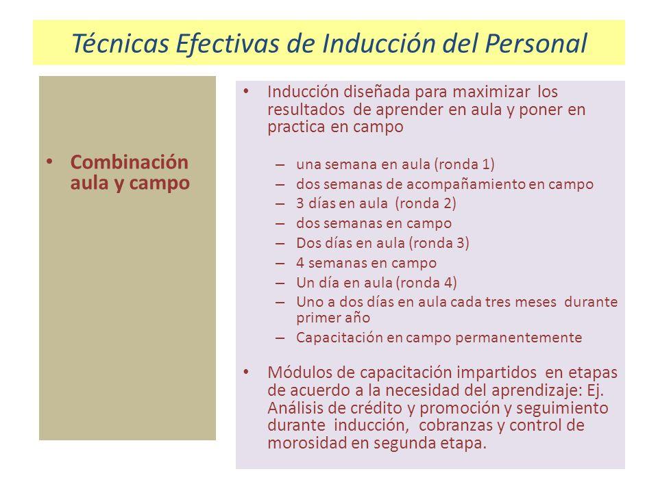 Técnicas Efectivas de Inducción del Personal Combinación aula y campo Inducción diseñada para maximizar los resultados de aprender en aula y poner en
