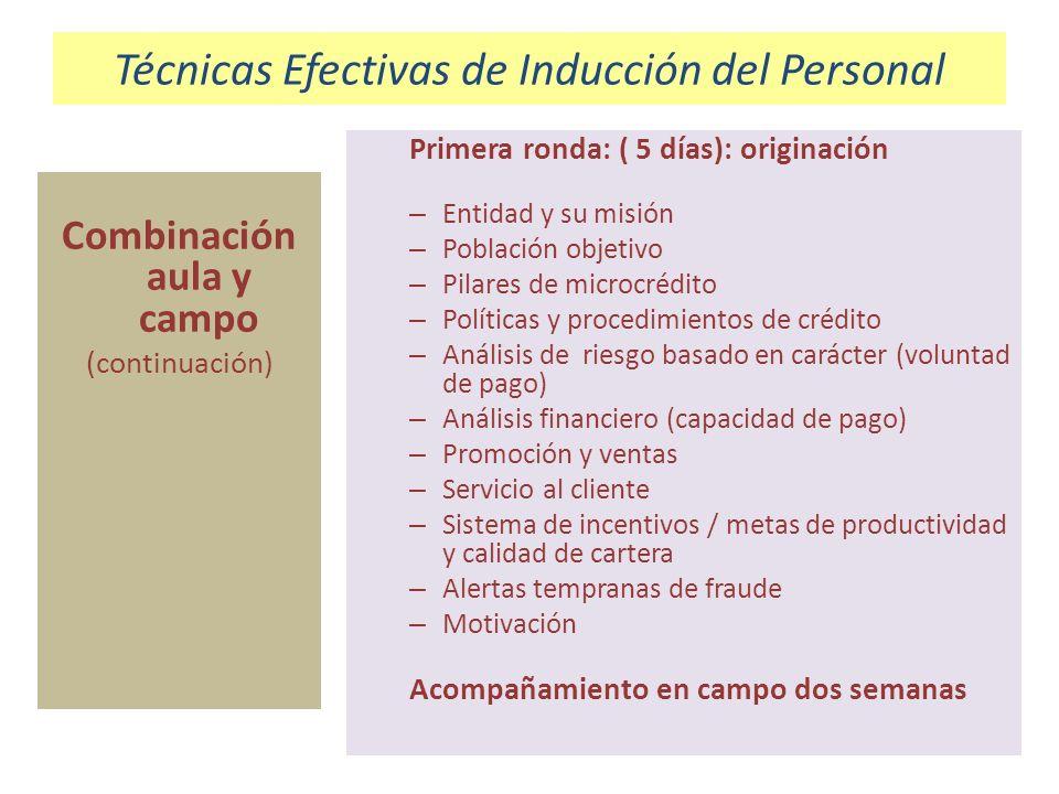 Técnicas Efectivas de Inducción del Personal Combinación aula y campo (continuación) Primera ronda: ( 5 días): originación – Entidad y su misión – Pob