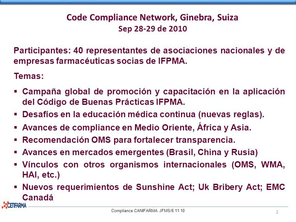 Code Compliance Network, Ginebra, Suiza Sep 28-29 de 2010 Compliance CANIFARMA JFMS/8.11.10 2 Participantes: 40 representantes de asociaciones naciona