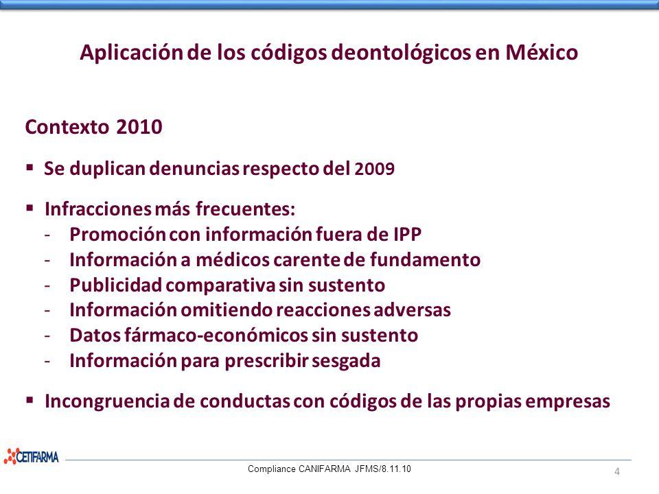 Aplicación de los códigos deontológicos en México Contexto 2010 Se duplican denuncias respecto del 2009 Infracciones más frecuentes: -Promoción con in