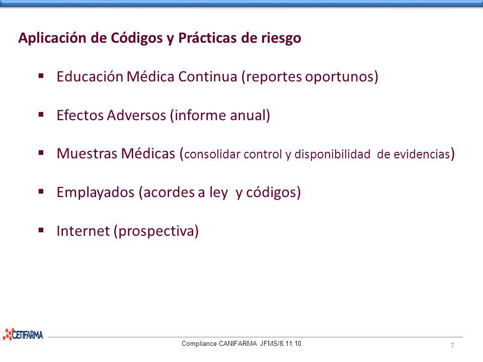 Aplicación de Códigos y Prácticas de riesgo Educación Médica Continua (reportes oportunos) Efectos Adversos (informe anual) Muestras Médicas ( consoli