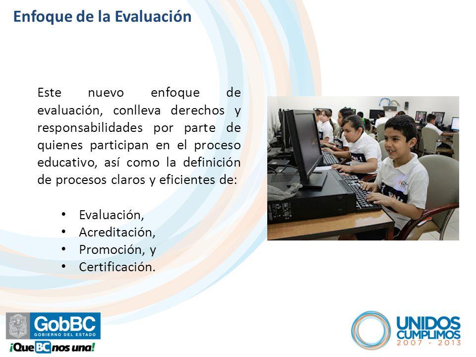 Enfoque de la Evaluación Este nuevo enfoque de evaluación, conlleva derechos y responsabilidades por parte de quienes participan en el proceso educativo, así como la definición de procesos claros y eficientes de: Evaluación, Acreditación, Promoción, y Certificación.
