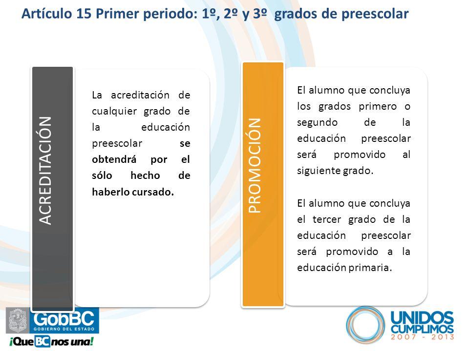 Artículo 15 Primer periodo: 1º, 2º y 3º grados de preescolar ACREDITACIÓN PROMOCIÓN El alumno que concluya los grados primero o segundo de la educación preescolar será promovido al siguiente grado.