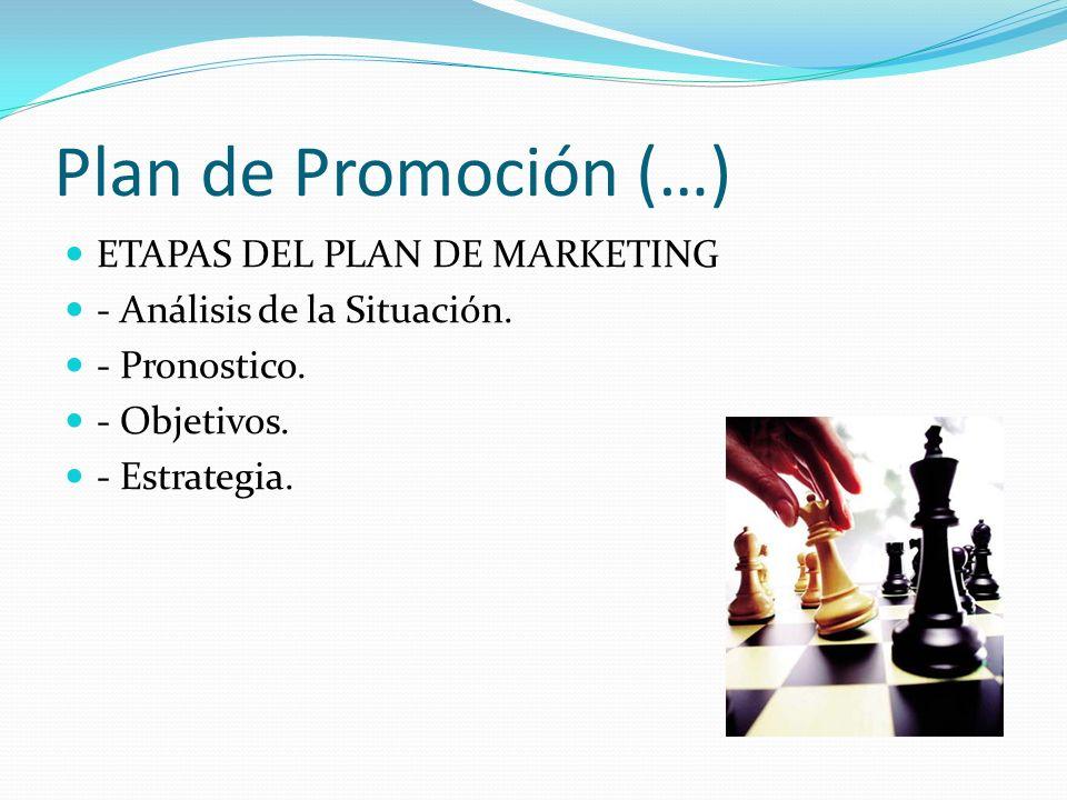 Plan de Promoción (…) ETAPAS DEL PLAN DE MARKETING - Análisis de la Situación. - Pronostico. - Objetivos. - Estrategia.