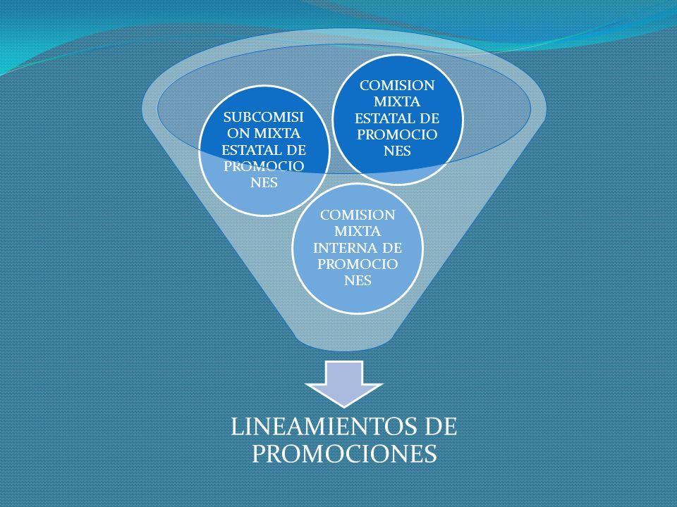 LINEAMIENTOS DE PROMOCIONES COMISION MIXTA INTERNA DE PROMOCIO NES SUBCOMISI ON MIXTA ESTATAL DE PROMOCIO NES COMISION MIXTA ESTATAL DE PROMOCIO NES