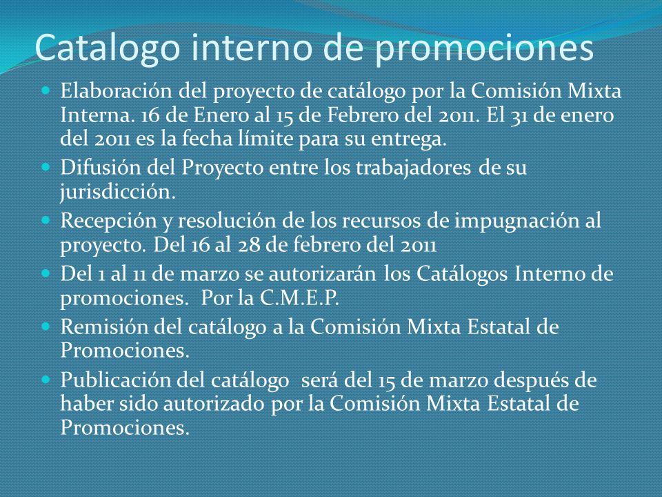 Catalogo interno de promociones Elaboración del proyecto de catálogo por la Comisión Mixta Interna. 16 de Enero al 15 de Febrero del 2011. El 31 de en