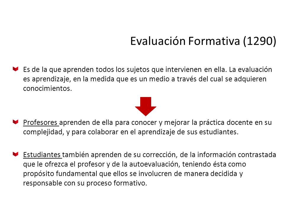 Evaluación Formativa (1290) Es de la que aprenden todos los sujetos que intervienen en ella. La evaluación es aprendizaje, en la medida que es un medi