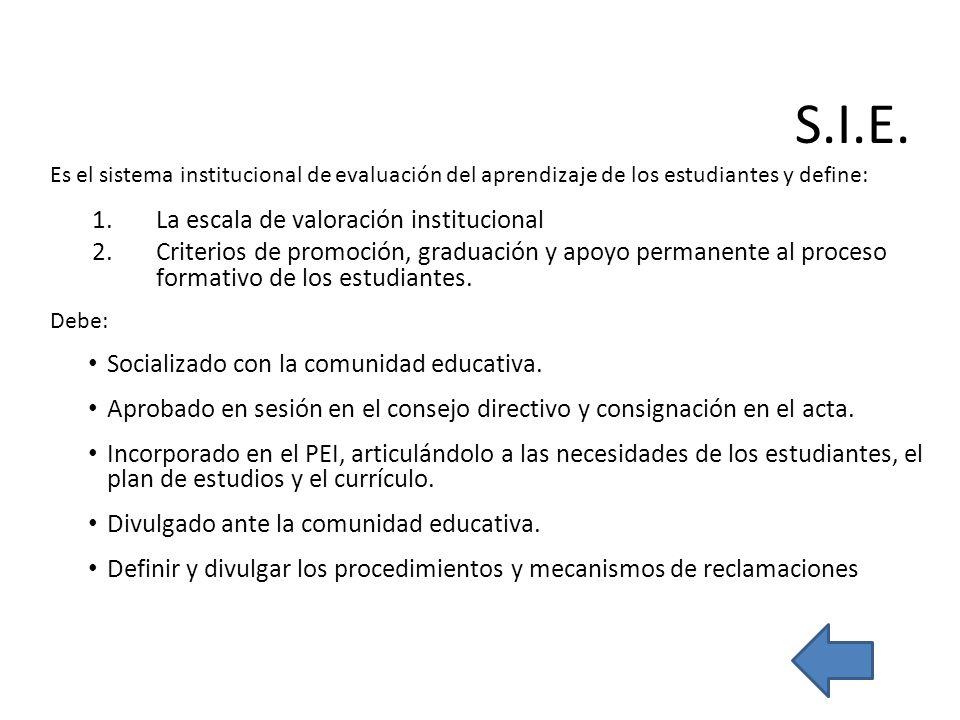 Es el sistema institucional de evaluación del aprendizaje de los estudiantes y define: 1.La escala de valoración institucional 2.Criterios de promoció