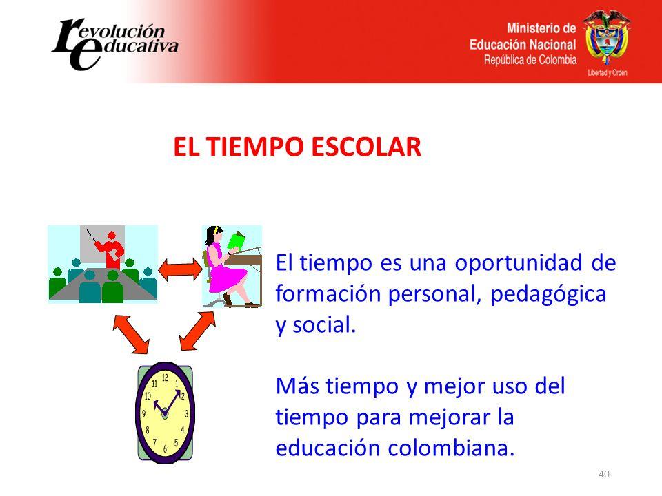 40 El tiempo es una oportunidad de formación personal, pedagógica y social. Más tiempo y mejor uso del tiempo para mejorar la educación colombiana. EL