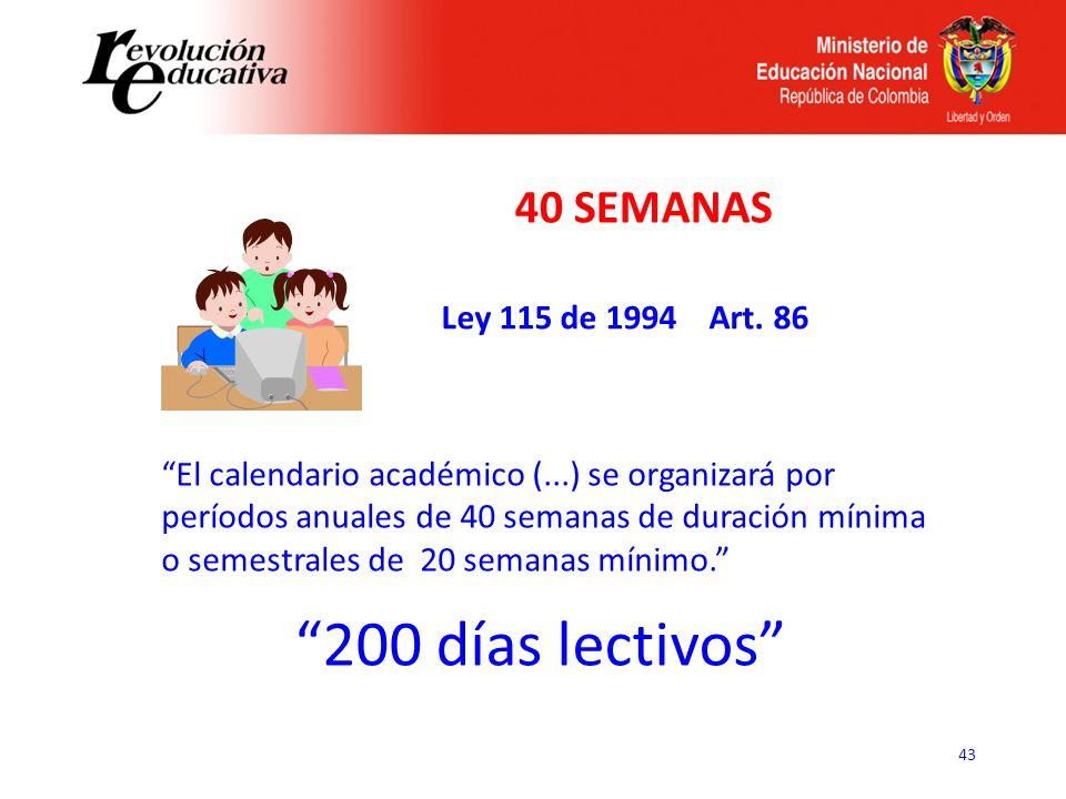 43 El calendario académico (...) se organizará por períodos anuales de 40 semanas de duración mínima o semestrales de 20 semanas mínimo. Ley 115 de 19