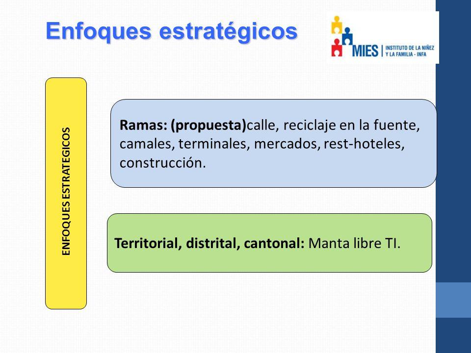 Enfoques estratégicos Ramas: (propuesta)calle, reciclaje en la fuente, camales, terminales, mercados, rest-hoteles, construcción.