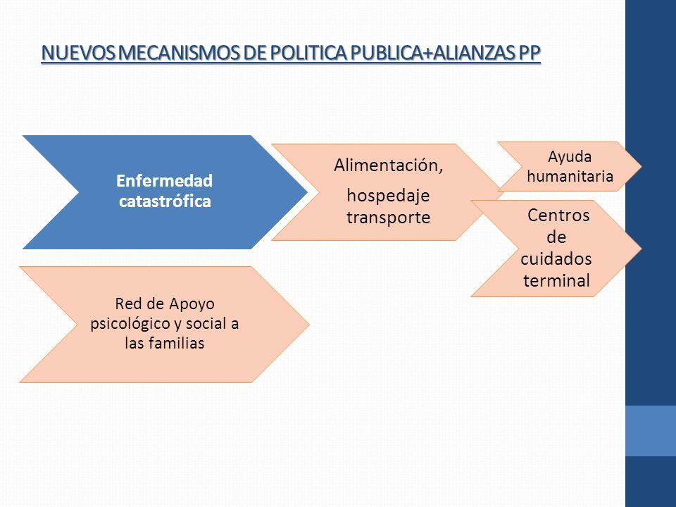 NUEVOS MECANISMOS DE POLITICA PUBLICA+ALIANZAS PP Enfermedad catastrófica Alimentación, hospedaje transporte Centros de cuidados terminal Red de Apoyo psicológico y social a las familias Ayuda humanitaria