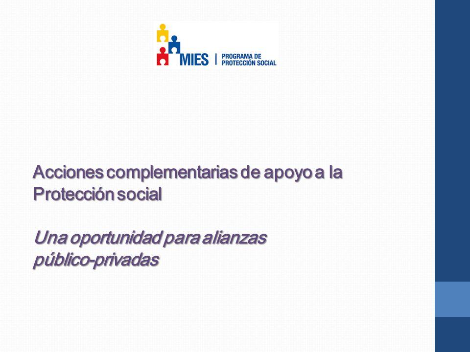 Acciones complementarias de apoyo a la Protección social Una oportunidad para alianzas público-privadas