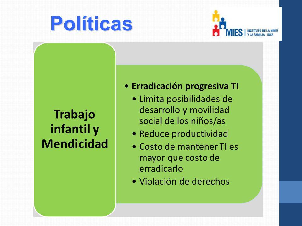 Políticas Erradicación progresiva TI Limita posibilidades de desarrollo y movilidad social de los niños/as Reduce productividad Costo de mantener TI es mayor que costo de erradicarlo Violación de derechos Trabajo infantil y Mendicidad