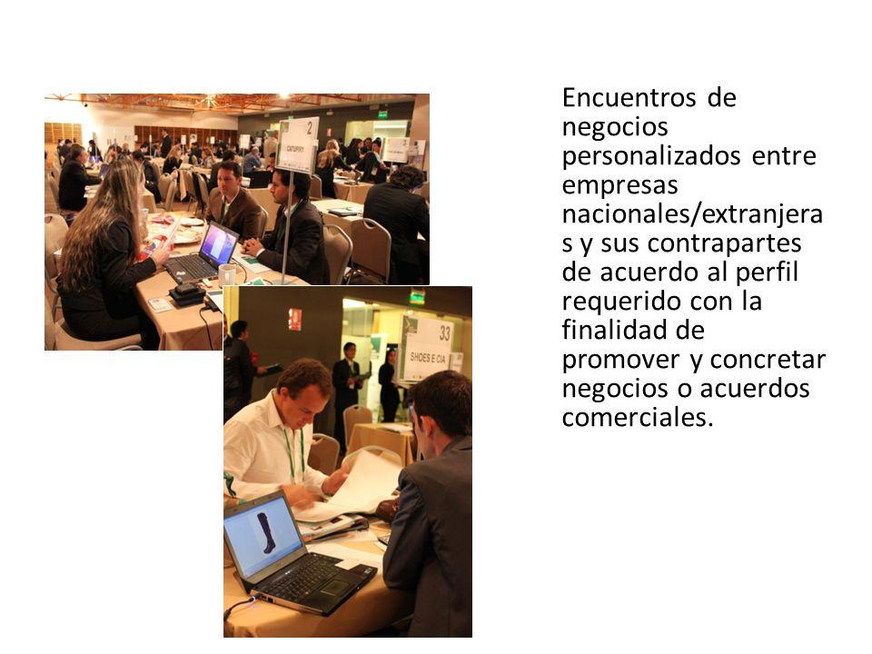 Encuentros de negocios personalizados entre empresas nacionales/extranjera s y sus contrapartes de acuerdo al perfil requerido con la finalidad de pro