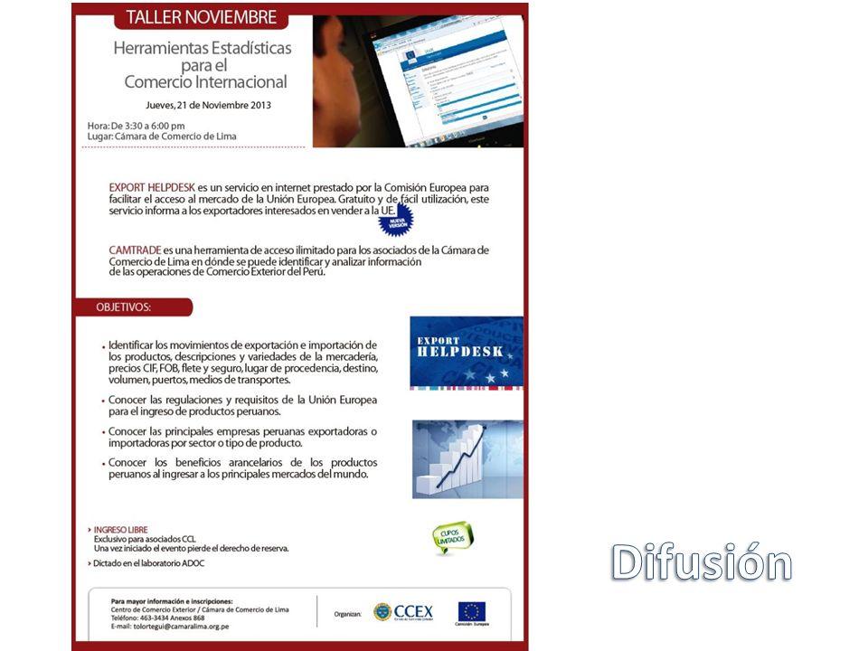 Otras fuentes externas SUNAT – ADUANET: www.aduanet.gob.pe PROMPERÚ – INFOTRADE: http://infotrade.promperu.gob.pe – SIICEX http://www.siicex.gob.pe MINCETUR – Acuerdos Comerciales: www.acuerdoscomerciales.gob.pe www.acuerdoscomerciales.gob.pe Central Intelligence Agency – CIA – The World Factbook: https://www.cia.gov/library/publicati ons/the-world-factbook Comisión Europea – EXPORT HELPDESK: http://exporthelp.europa.eu/ Centro de Comercio Internacional – TRADEMAP: www.trademap.org Asociación Latinoamérica de Integración – Aladi: www.aladi.org PENTA : www.v4.penta-transaction.com ACOMEX