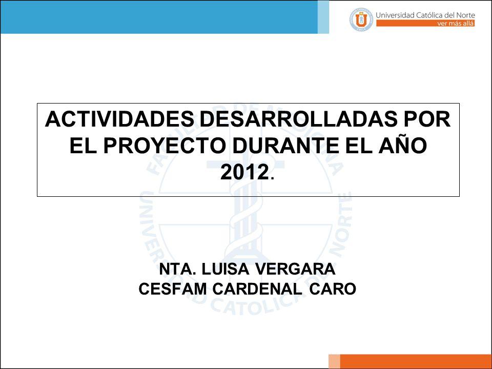 NTA. LUISA VERGARA CESFAM CARDENAL CARO ACTIVIDADES DESARROLLADAS POR EL PROYECTO DURANTE EL AÑO 2012.