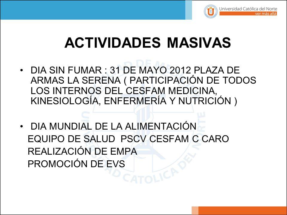 ACTIVIDADES MASIVAS DIA SIN FUMAR : 31 DE MAYO 2012 PLAZA DE ARMAS LA SERENA ( PARTICIPACIÓN DE TODOS LOS INTERNOS DEL CESFAM MEDICINA, KINESIOLOGÍA,