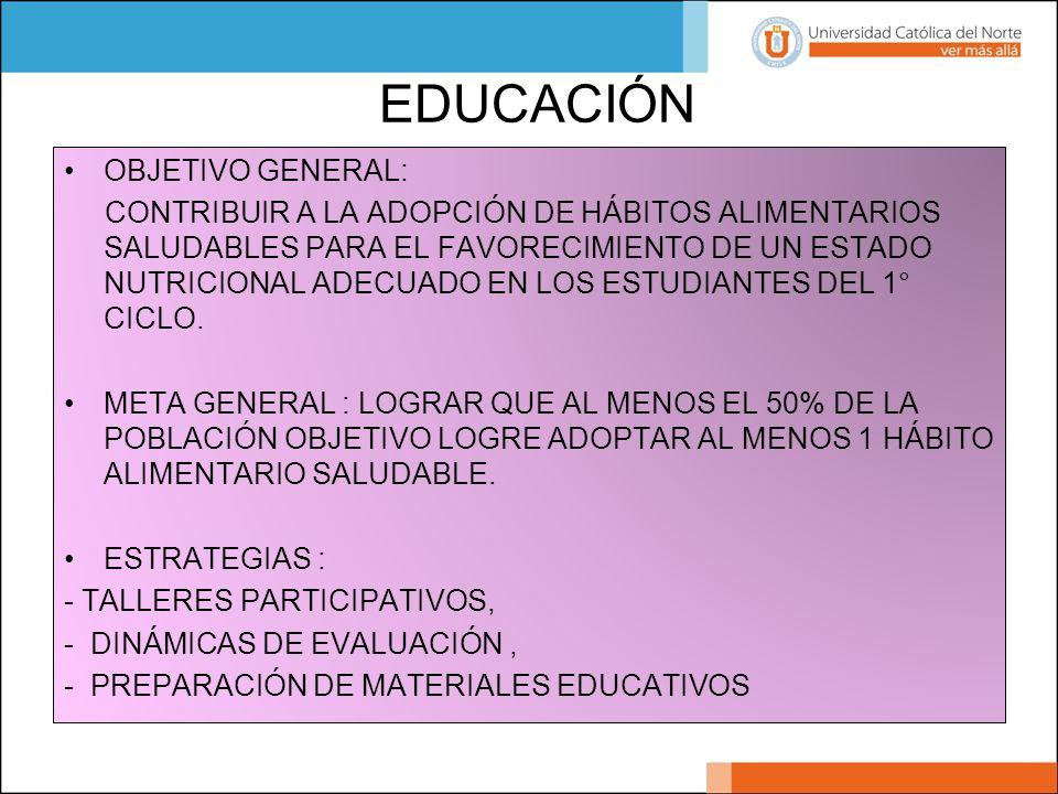 EDUCACIÓN OBJETIVO GENERAL: CONTRIBUIR A LA ADOPCIÓN DE HÁBITOS ALIMENTARIOS SALUDABLES PARA EL FAVORECIMIENTO DE UN ESTADO NUTRICIONAL ADECUADO EN LO