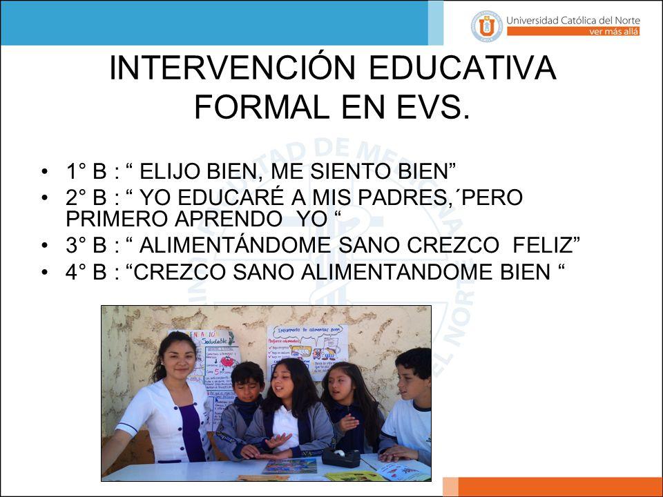 INTERVENCIÓN EDUCATIVA FORMAL EN EVS. 1° B : ELIJO BIEN, ME SIENTO BIEN 2° B : YO EDUCARÉ A MIS PADRES,´PERO PRIMERO APRENDO YO 3° B : ALIMENTÁNDOME S
