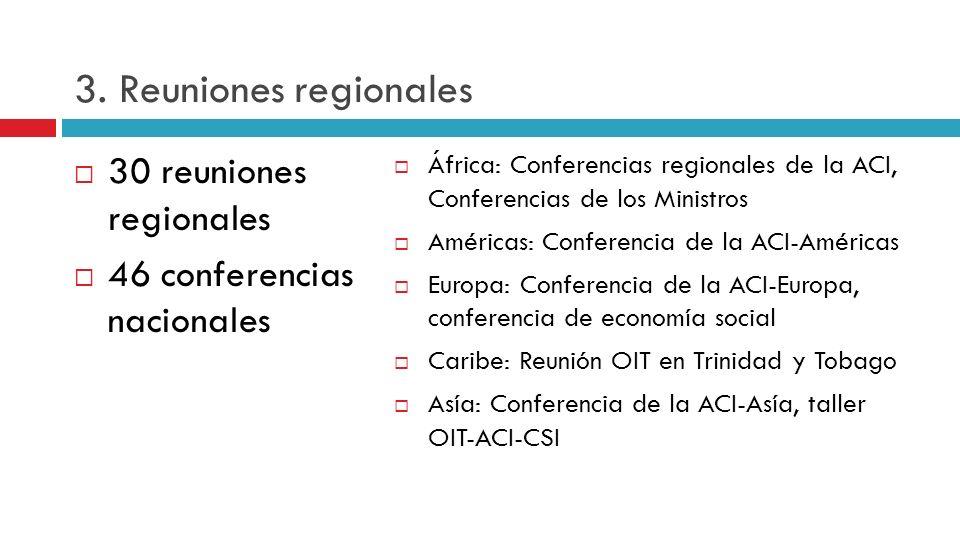 3. Reuniones regionales 30 reuniones regionales 46 conferencias nacionales África: Conferencias regionales de la ACI, Conferencias de los Ministros Am