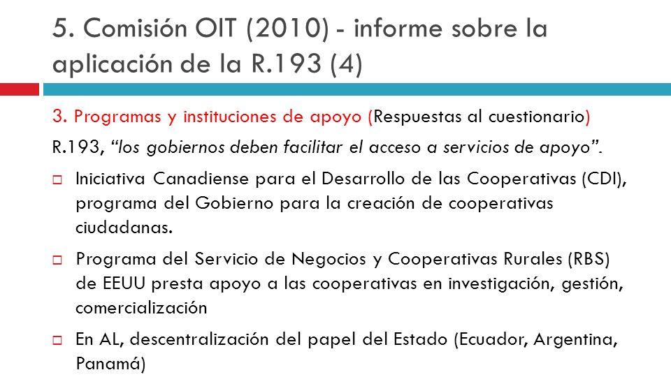 3. Programas y instituciones de apoyo (Respuestas al cuestionario) R.193, los gobiernos deben facilitar el acceso a servicios de apoyo. Iniciativa Can