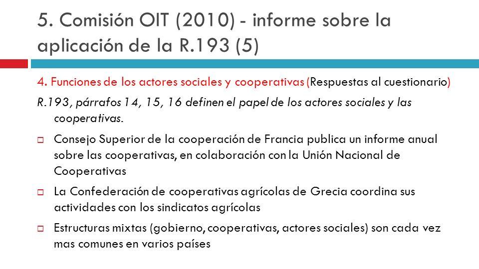 4. Funciones de los actores sociales y cooperativas (Respuestas al cuestionario) R.193, párrafos 14, 15, 16 definen el papel de los actores sociales y