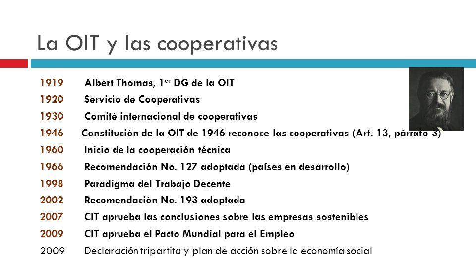 La OIT y las cooperativas 1919Albert Thomas, 1 er DG de la OIT 1920 Servicio de Cooperativas 1930Comité internacional de cooperativas 1946Constitución