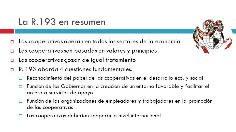 La R.193 en resumen Las cooperativas operan en todos los sectores de la economía Las cooperativas son basadas en valores y principios Las cooperativas