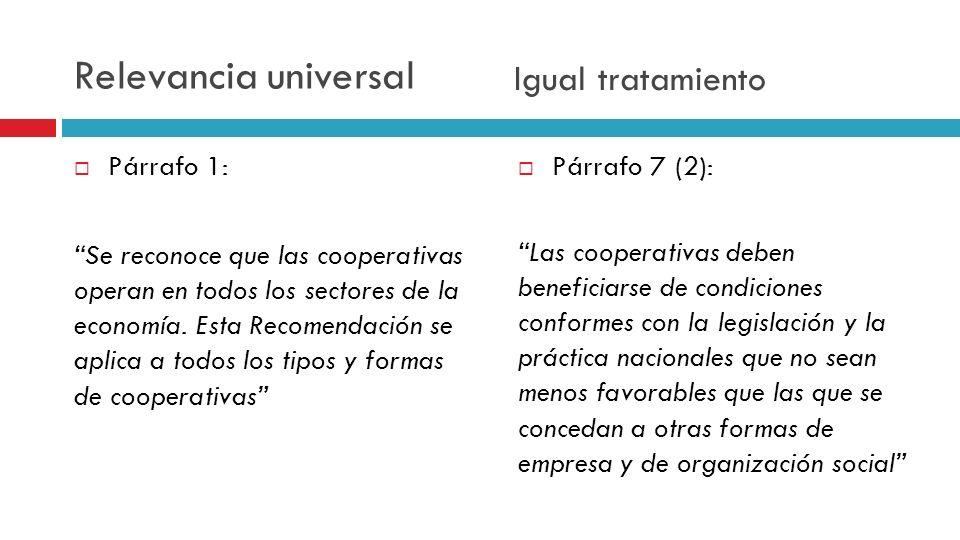 Párrafo 1: Se reconoce que las cooperativas operan en todos los sectores de la economía. Esta Recomendación se aplica a todos los tipos y formas de co