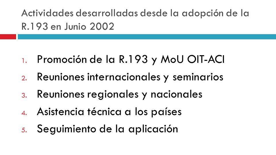 Actividades desarrolladas desde la adopción de la R.193 en Junio 2002 1. Promoción de la R.193 y MoU OIT-ACI 2. Reuniones internacionales y seminarios