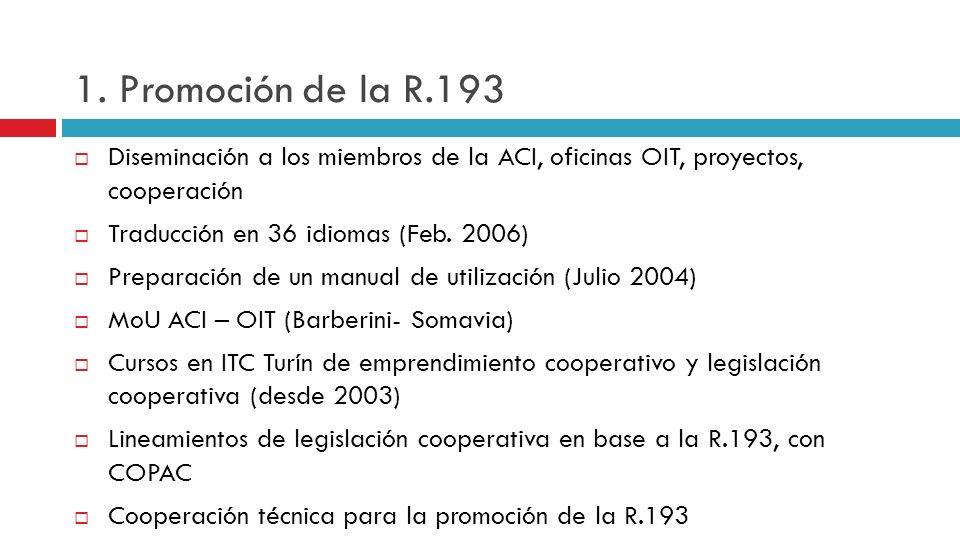 1. Promoción de la R.193 Diseminación a los miembros de la ACI, oficinas OIT, proyectos, cooperación Traducción en 36 idiomas (Feb. 2006) Preparación