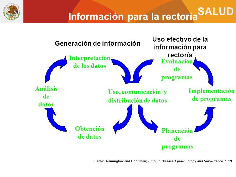 SALUD Uso, comunicación y distribución de datos Interpretación de los datos Obtención de datos Análisis de datos Fuente: Remington and Goodman; Chroni