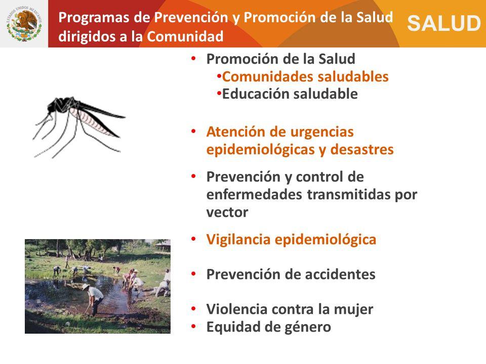 SALUD Promoción de la Salud Comunidades saludables Educación saludable Atención de urgencias epidemiológicas y desastres Prevención y control de enfer