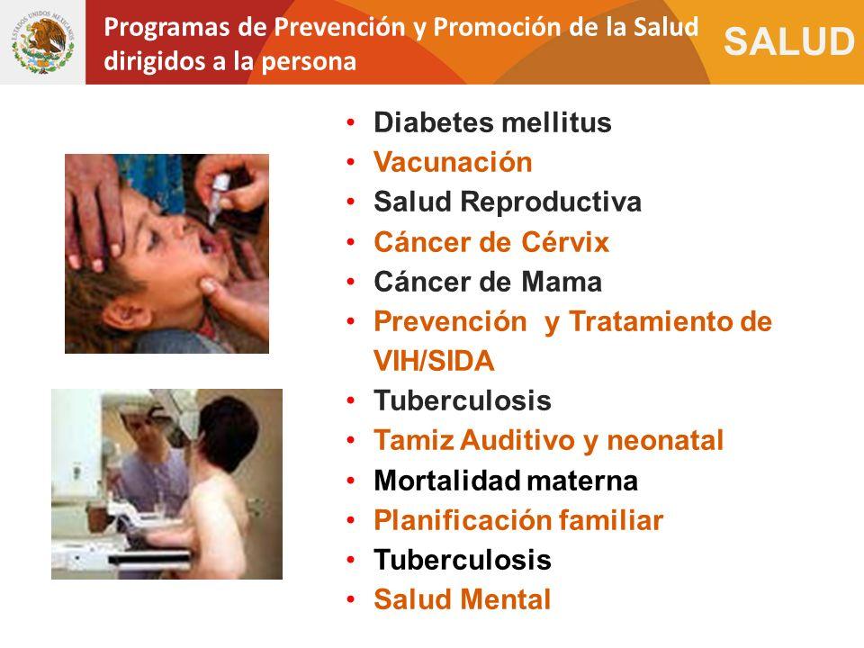 SALUD Diabetes mellitus Vacunación Salud Reproductiva Cáncer de Cérvix Cáncer de Mama Prevención y Tratamiento de VIH/SIDA Tuberculosis Tamiz Auditivo