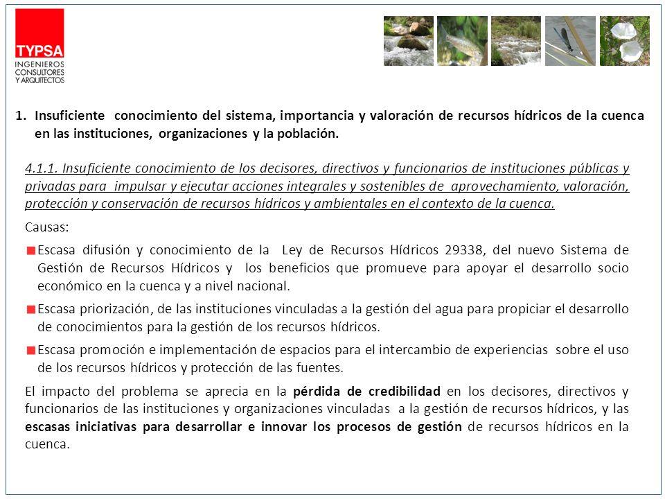 1.Insuficiente conocimiento del sistema, importancia y valoración de recursos hídricos de la cuenca en las instituciones, organizaciones y la població