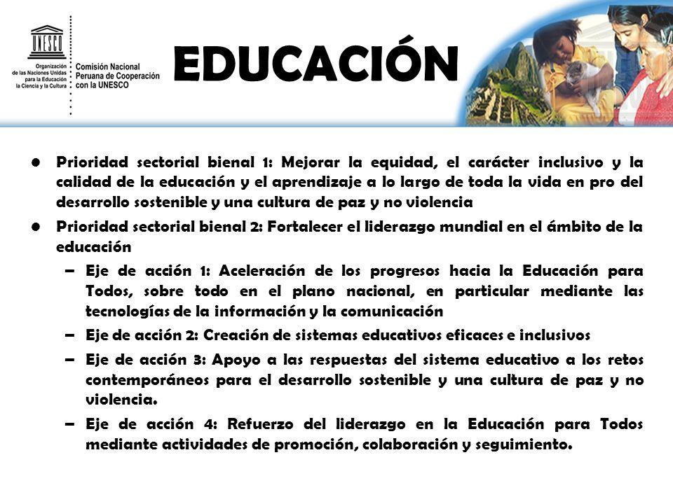 EDUCACIÓN Prioridad sectorial bienal 1: Mejorar la equidad, el carácter inclusivo y la calidad de la educación y el aprendizaje a lo largo de toda la vida en pro del desarrollo sostenible y una cultura de paz y no violencia Prioridad sectorial bienal 2: Fortalecer el liderazgo mundial en el ámbito de la educación –Eje de acción 1: Aceleración de los progresos hacia la Educación para Todos, sobre todo en el plano nacional, en particular mediante las tecnologías de la información y la comunicación –Eje de acción 2: Creación de sistemas educativos eficaces e inclusivos –Eje de acción 3: Apoyo a las respuestas del sistema educativo a los retos contemporáneos para el desarrollo sostenible y una cultura de paz y no violencia.