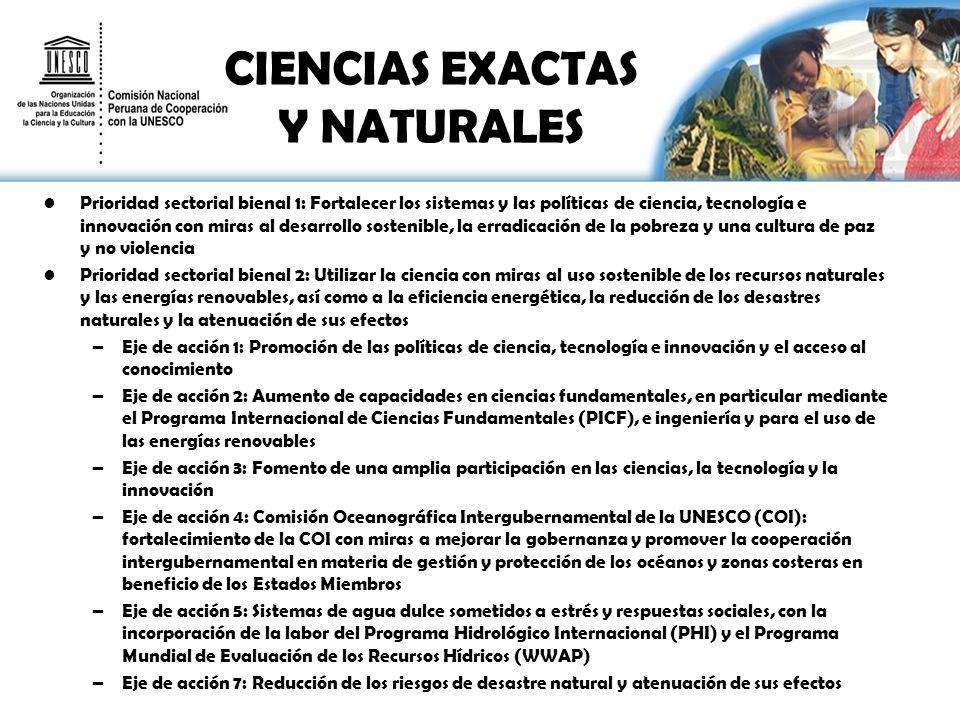 CIENCIAS EXACTAS Y NATURALES Prioridad sectorial bienal 1: Fortalecer los sistemas y las políticas de ciencia, tecnología e innovación con miras al de