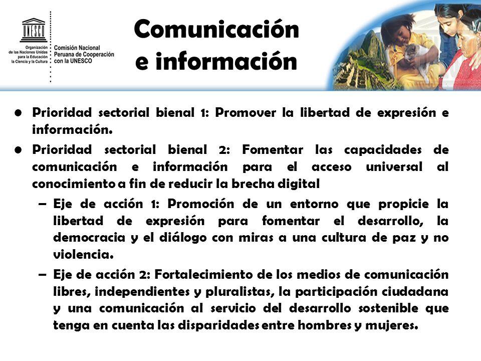 Comunicación e información Prioridad sectorial bienal 1: Promover la libertad de expresión e información. Prioridad sectorial bienal 2: Fomentar las c