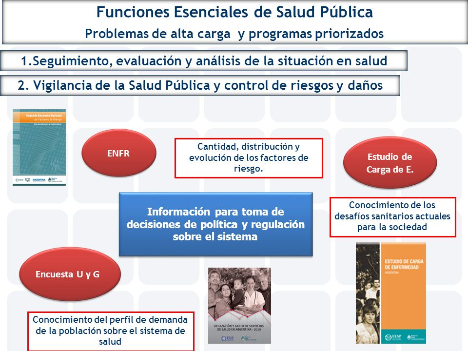 Funciones Esenciales de Salud Pública Problemas de alta carga y programas priorizados 1.Seguimiento, evaluación y análisis de la situación en salud 2.